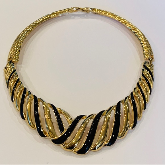 Trifari tribal black gold collar choker vintage